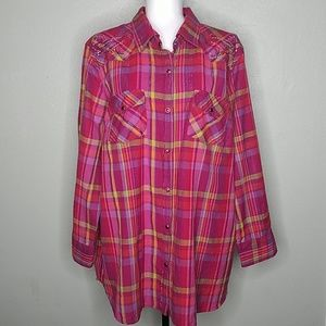 Gibson Trading Company Pink Plaid Snap Button Down